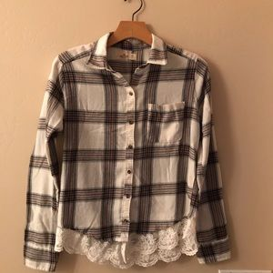 Hollister Women's Button Down Top With Lace.